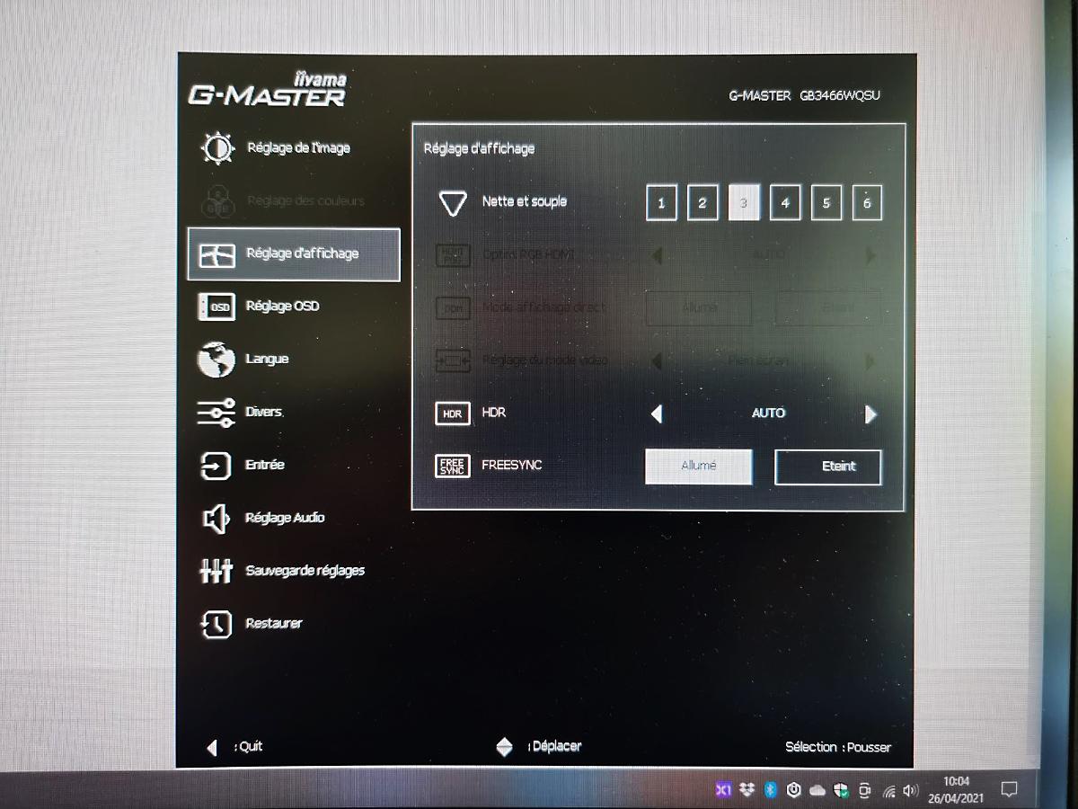 Capture d'écran OSD Iiyama G-master