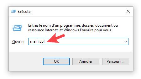 Commande qui permet d'ouvrir les options du curseur de la souris